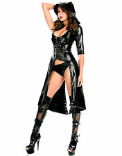 Latex Look Black Coat with Hood Lace Up Back and Front One Sleeve (Faux Latex)