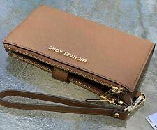 Michael Kors Brown Luggage  Leather Jet Set Double Zip Phone  Wallet Wristlet