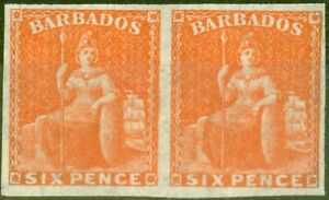 Barbados 1870 6d Orange-Vermilion SG60b Imperf Pair V.F & Fresh Unused