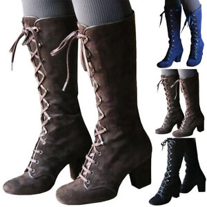 UK Womens Lace Up Knee High Boots Steampunk Gothic Vintage Block Heel Punk Shoes