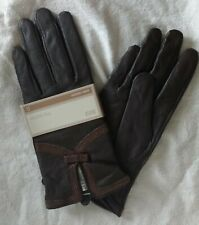 LADIES M&S FINE BROWN LEATHER GLOVES & BOW DETAIL -  WATER RESISTANT - M - NEW