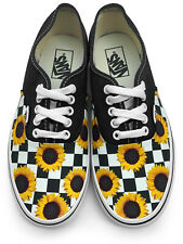 Checkerboard Sunflower Authentic Laced Vans Brand Shoes