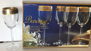 "4 Baroque 24 K Gold & Platinum Band Crystal Stemware Wine Glasses Tall 8"" x 2,75"