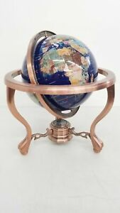 Inlaid Semi Precious Stone Globe on Copper Stand w/ Compass, Ball & Claw Feet MB