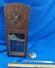 Antique-Vtg Craftsman Mission Arts & Craft Wood Wall Clock Key Silver Pendulum