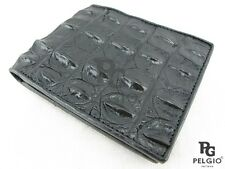 PELGIO Genuine Crocodile Alligator Hornback Skin Leather Bifold Wallet Black