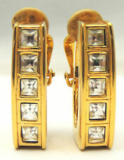 Vintage Genuine SWAROVSKI Crystal Earrings Cilp On Squared Hoops Bold Gold Tone