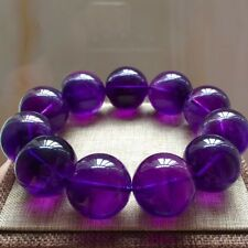 23.5mm Old material 100% Natural Amethyst Gemstone Round Beads Bracelet Uruguay