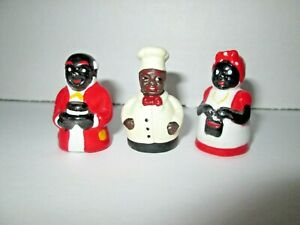 Lot 4 Vintage Black Americana Miniature Porcelain Figures