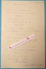 P.A.S Marcelle TRUYS - Poésie manuscrite - Poème autographe - French autograph