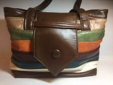 Leather Multi-Color Horizontal Striped Handbag With Leather Strap