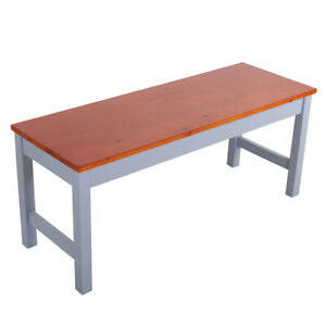 Brown & Grey Pine Wood Dining Table Bench Kitchen Long Seat Stool Chair 2 Seater