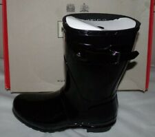 NIB Womens HUNTER Original Short Rain Boot~GLOSS~BLACK~SZ 9
