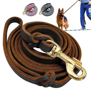 6/8ft Real Leather Dog Long Tracking Leash K9 Dogs Training Rope German Shepherd