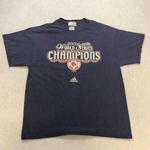 Adidas 2004 Boston Red Soxs T-Shirt Size L Blue MLB Baseball Cotton Mens
