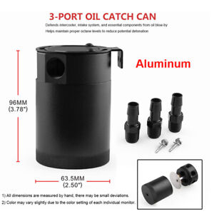 3-Port Oil Catch Can Tank Baffled Separator Racing Billet Aluminum Sealed Can