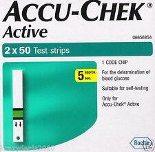100 Test Diabetic Strips for Glucometer Accu-Chek Active, Sugar, Exp April 2018