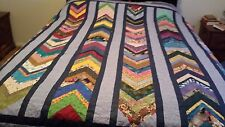Multi-color Chevrons with a Blue Border, Navy Backing, King Quilt