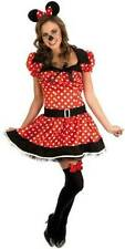 Ladies Minnie Little Mouse Red White Fancy Dress Costume & Ears Outfit XL 14-16