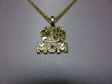 14 KT GOLD EP #1 MOM CHARM PENDANT  AND 30 INCH  ROPE CHAIN NECKLACE SET- 2101