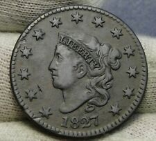 1827 Penny Coronet Large Cent - N-7 R3, Nice Coin, Free Shipping (8453)