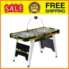 """54"""" Air Hockey Game Table, Overhead Electronic Scorer, Black/Yellow"""