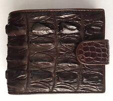 100% Genuine crocodile skin leather bifold men  brown wallet