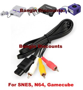 N64 6FT RCA AV TV Audio Video Stereo Cable Cord For Nintendo 64 Gamecube SNES