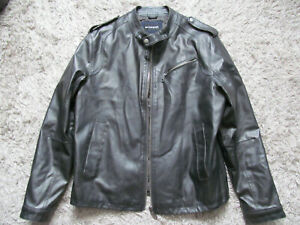 Marks & Spencer Autograph Black Faux Leather Jacket Size Large L Bike Venom