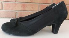 ROS HOMMERSON Black Microfiber Pumps Bow Detail 7 N Narrow NEW