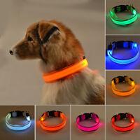 Dog Pet LED Collar Flashing Luminous Adjustable Safety Light Nylon Tag Leash New