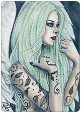 ACEO LE PRINTS Art Angel Gothic Bubblegoth Mint Pastel Green Hair Tattoos leaves