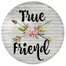 True Friend Wood Plank Arrows Pink Flowers 20mm Snap Charm For Ginger Snaps