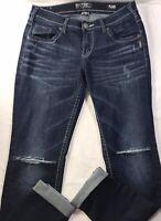 Silver Boyfriend Fluid Denim Skinny Stretch Distressed Womens Jeans Sz 30 x 29