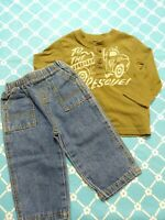 Boys Outfit Size 18 Months Jeans Top Long Sleeve Green Garanimals