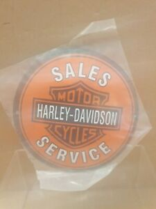 """""""Harley Davidson""""  Stove Enamel Sign Really Neat  5"""" Wide ave   holed  New. No3a"""