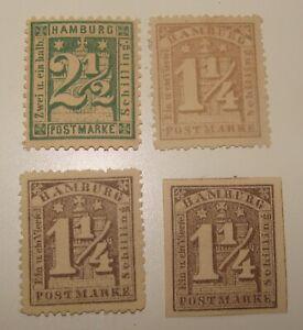 Germany HAMBURG Schilling Stamp Lot x4