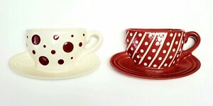 2 Coffee Cup Mug WALL POCKETS by THT (C) 2003 Kitchen Wall Decor Red Ceramic MCM