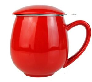 RED TEA CUP AND INFUSER - LOOSE TEA ROOIBOS GREEN TEA BLACK TEA STRAINER OOLONG