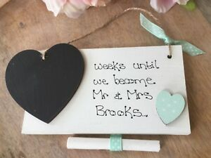 Personalised Wedding Countdown Chalkboard Plaque Sign Engagement Gift Mr and Mrs