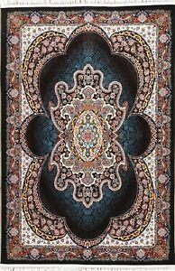 Stunning Plush Soft Medallion Floral Black Hereke Turkish Oriental 5x7 Area Rug