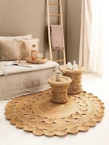 Rug 100% natural braided jute handmade reversible modern living outdoor rag rugs