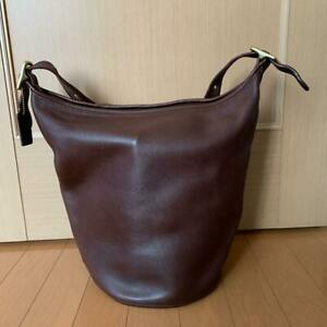 COACH Vintage Duffle Feed Sac Leather Shoulder Bucket Bag Brown L7E 9085 ITALY