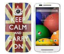 TPU Schutzhüllle f Motorola Moto E Tasche Etui Case Cover Keep Calm and carry on