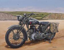 "BSA WD - M20 Motorcycle Art Mini Print 10"" x 8"" Mounted"