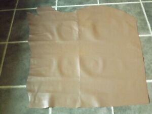 BROWN 100% REAL LEATHER HIDE SKIN 1mm THICK SMOOTH SLIGHT GRAIN