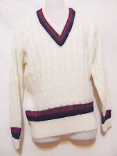 Orlon by CAMPUS Vintage 50's/60's Cable Knit V-Neck Sweater Small Rockabilly Mod