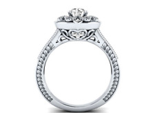925 Sterling Silver 1.10 ct White Sapphire Halo Engagement Ring  -#W6-108