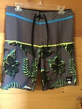 Quicksilver Swiming Trunks Gray Floral Tie Waistband Men's Size 30x20
