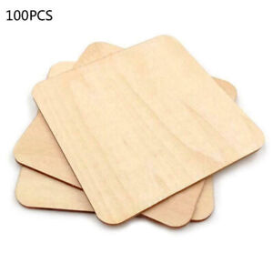 100X Wooden Square Shape Coaster Blank Coasters DIY Unfinished Wood Craft Blank